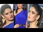 Sexy Zarine Khan Hot Ballons Jumping In Blue Gown
